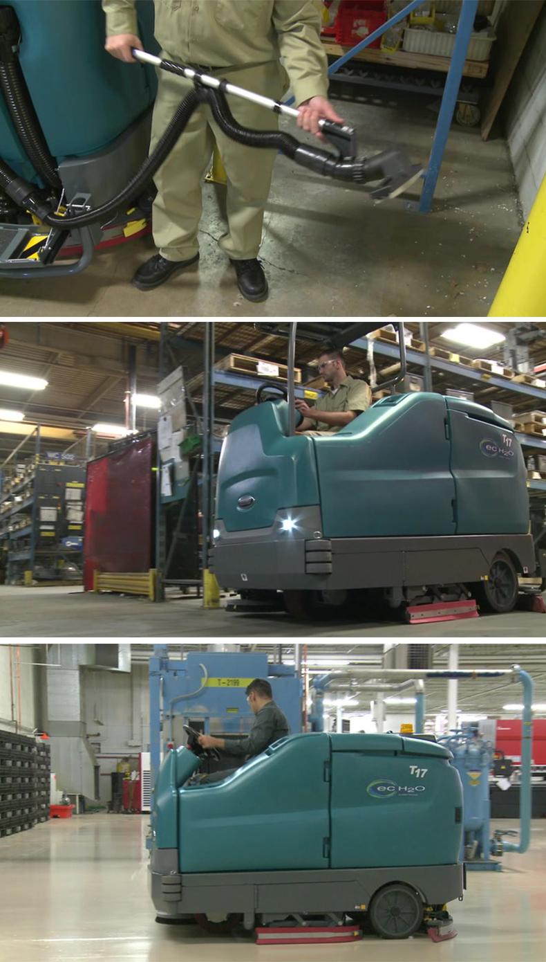 坦能T17重型电瓶驾驶式洗地机 大型洗地车案例
